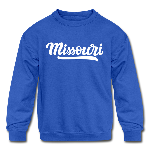 Missouri Youth Sweatshirt - Hand Lettered Youth Missouri Crewneck Sweatshirt - royal blue