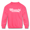 Missouri Youth Sweatshirt - Hand Lettered Youth Missouri Crewneck Sweatshirt - neon pink