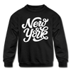 New York Youth Sweatshirt - Hand Lettered Youth New York Crewneck Sweatshirt - black