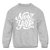 New York Youth Sweatshirt - Hand Lettered Youth New York Crewneck Sweatshirt - heather gray