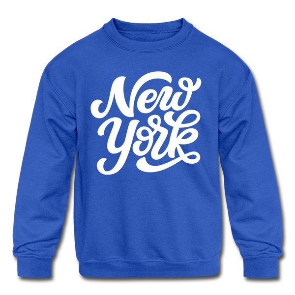 New York Youth Sweatshirt - Hand Lettered Youth New York Crewneck Sweatshirt - royal blue
