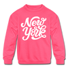 New York Youth Sweatshirt - Hand Lettered Youth New York Crewneck Sweatshirt - neon pink