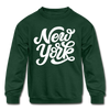 New York Youth Sweatshirt - Hand Lettered Youth New York Crewneck Sweatshirt - forest green
