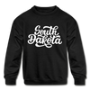 South Dakota Youth Sweatshirt - Hand Lettered Youth South Dakota Crewneck Sweatshirt - black
