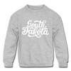South Dakota Youth Sweatshirt - Hand Lettered Youth South Dakota Crewneck Sweatshirt - heather gray