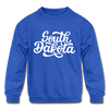 South Dakota Youth Sweatshirt - Hand Lettered Youth South Dakota Crewneck Sweatshirt - royal blue