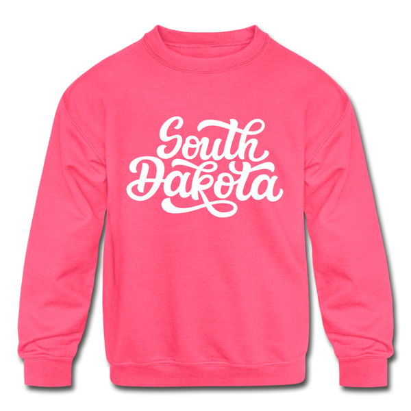 South Dakota Youth Sweatshirt - Hand Lettered Youth South Dakota Crewneck Sweatshirt - neon pink