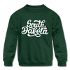 South Dakota Youth Sweatshirt - Hand Lettered Youth South Dakota Crewneck Sweatshirt - forest green