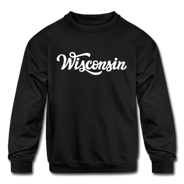 Wisconsin Youth Sweatshirt - Hand Lettered Youth Wisconsin Crewneck Sweatshirt - black