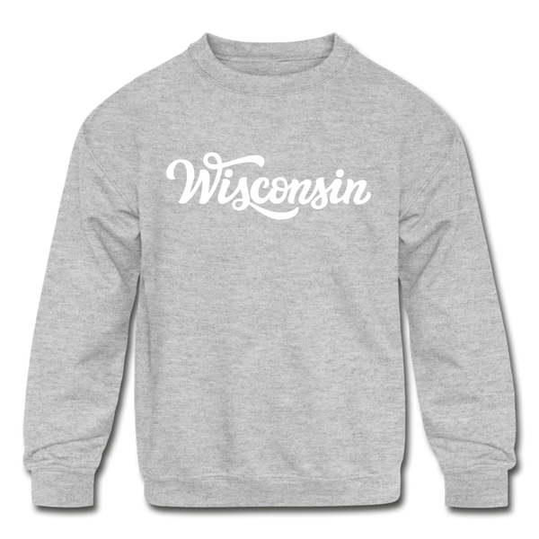 Wisconsin Youth Sweatshirt - Hand Lettered Youth Wisconsin Crewneck Sweatshirt - heather gray