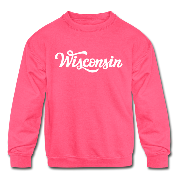 Wisconsin Youth Sweatshirt - Hand Lettered Youth Wisconsin Crewneck Sweatshirt - neon pink