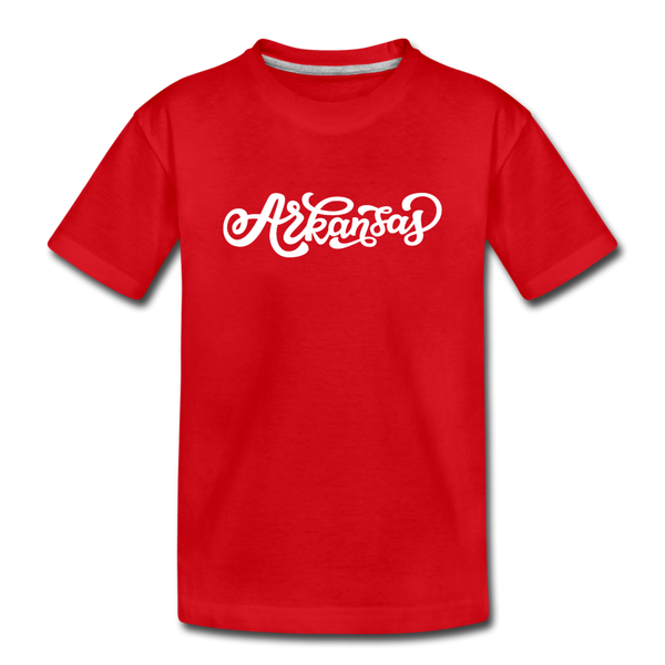 Arkansas Youth T-Shirt - Hand Lettered Youth Arkansas Tee - red