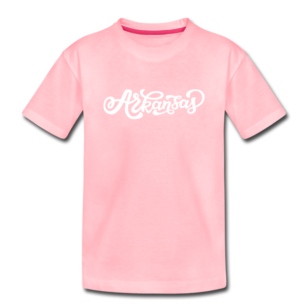 Arkansas Youth T-Shirt - Hand Lettered Youth Arkansas Tee - pink