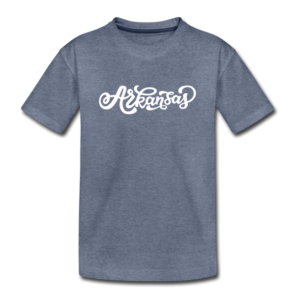 Arkansas Youth T-Shirt - Hand Lettered Youth Arkansas Tee - heather blue