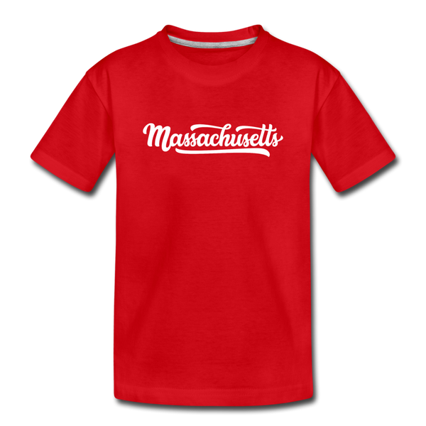Massachusetts Youth T-Shirt - Hand Lettered Youth Massachusetts Tee - red