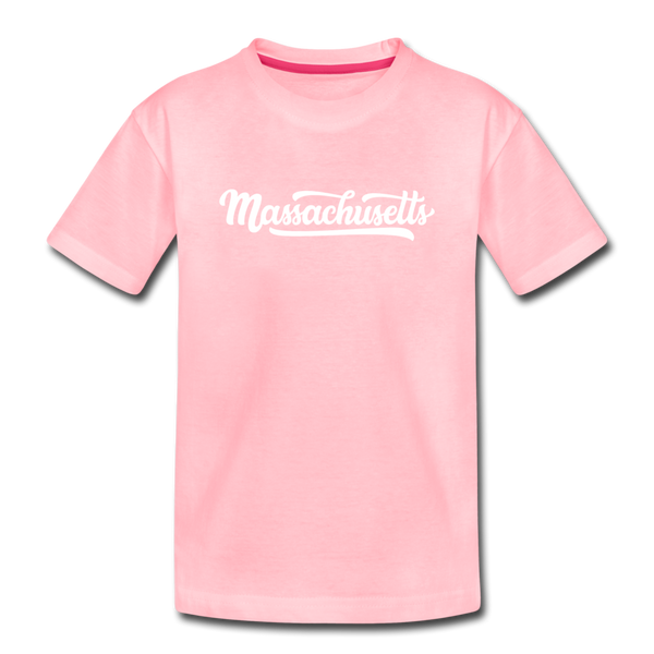 Massachusetts Youth T-Shirt - Hand Lettered Youth Massachusetts Tee - pink