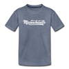 Massachusetts Youth T-Shirt - Hand Lettered Youth Massachusetts Tee - heather blue
