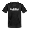 Massachusetts Youth T-Shirt - Hand Lettered Youth Massachusetts Tee - charcoal gray