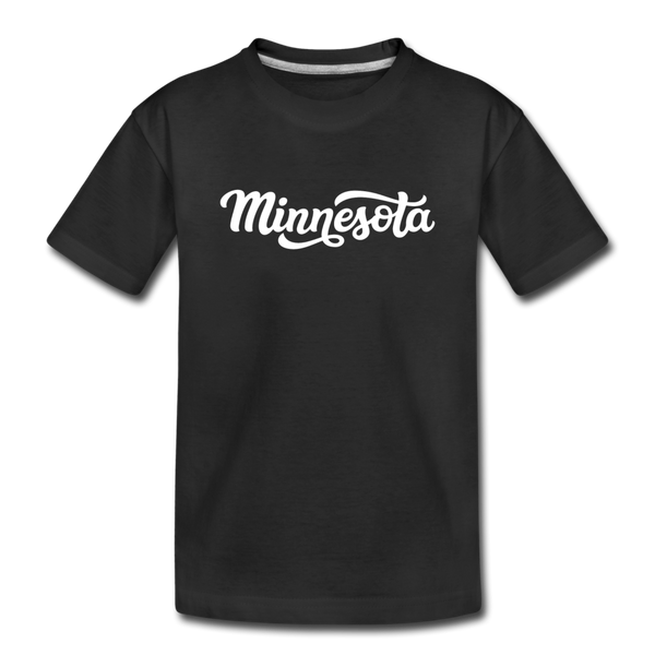 Minnesota Youth T-Shirt - Hand Lettered Youth Minnesota Tee - black