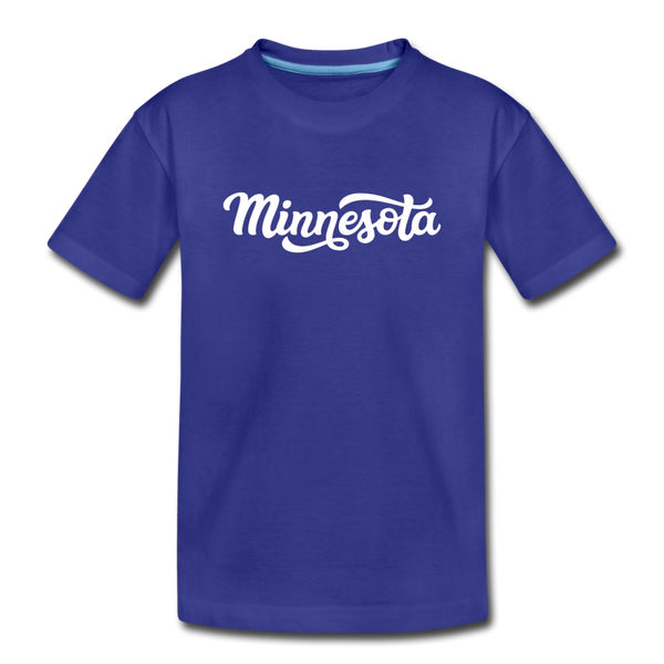 Minnesota Youth T-Shirt - Hand Lettered Youth Minnesota Tee - royal blue