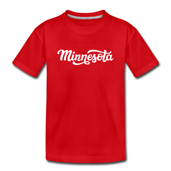 Minnesota Youth T-Shirt - Hand Lettered Youth Minnesota Tee - red