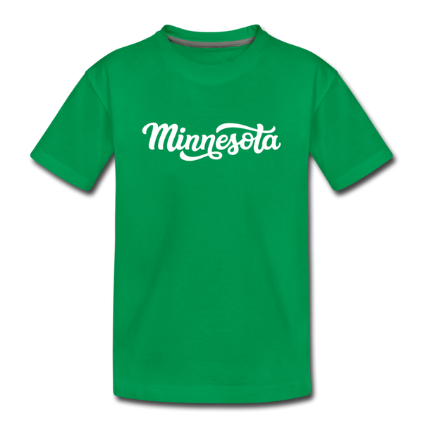 Minnesota Youth T-Shirt - Hand Lettered Youth Minnesota Tee - kelly green