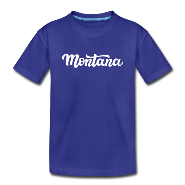 Montana Youth T-Shirt - Hand Lettered Youth Montana Tee - royal blue