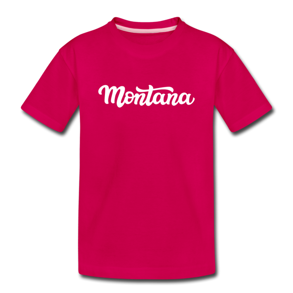 Montana Youth T-Shirt - Hand Lettered Youth Montana Tee - dark pink