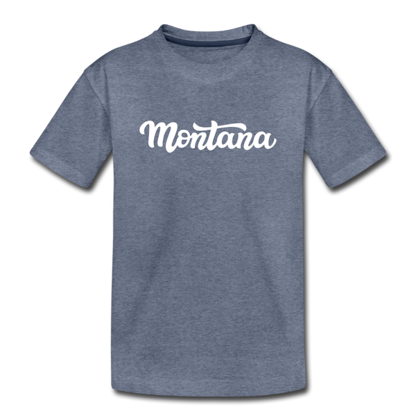 Montana Youth T-Shirt - Hand Lettered Youth Montana Tee - heather blue