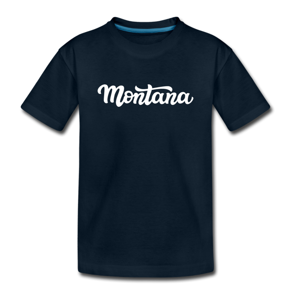 Montana Youth T-Shirt - Hand Lettered Youth Montana Tee - deep navy