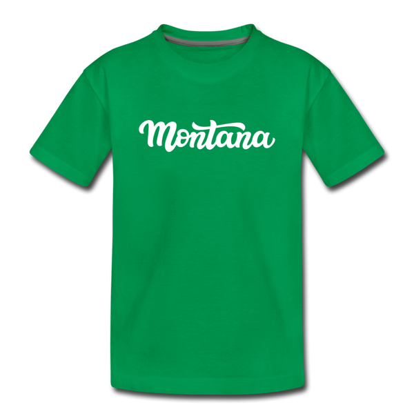 Montana Youth T-Shirt - Hand Lettered Youth Montana Tee - kelly green