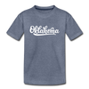 Oklahoma Youth T-Shirt - Hand Lettered Youth Oklahoma Tee - heather blue