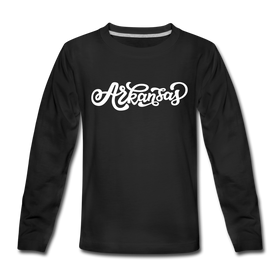 Arkansas Youth Long Sleeve Shirt - Hand Lettered Youth Long Sleeve Arkansas Tee