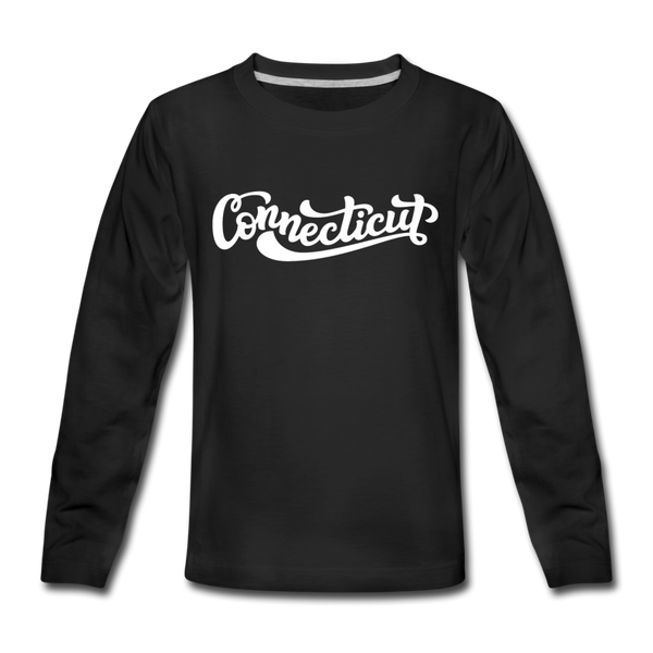 Connecticut Youth Long Sleeve Shirt - Hand Lettered Youth Long Sleeve Connecticut Tee - black