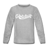 Connecticut Youth Long Sleeve Shirt - Hand Lettered Youth Long Sleeve Connecticut Tee - heather gray