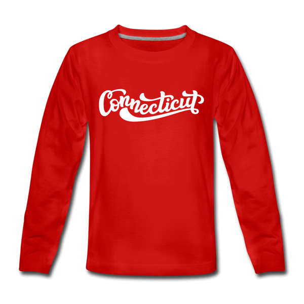 Connecticut Youth Long Sleeve Shirt - Hand Lettered Youth Long Sleeve Connecticut Tee - red