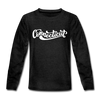 Connecticut Youth Long Sleeve Shirt - Hand Lettered Youth Long Sleeve Connecticut Tee - charcoal gray
