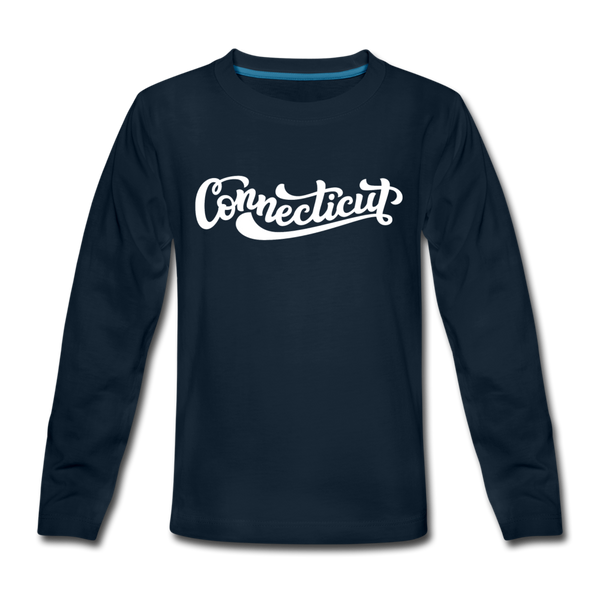 Connecticut Youth Long Sleeve Shirt - Hand Lettered Youth Long Sleeve Connecticut Tee - deep navy
