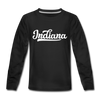 Indiana Youth Long Sleeve Shirt - Hand Lettered Youth Long Sleeve Indiana Tee - black
