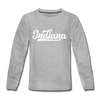 Indiana Youth Long Sleeve Shirt - Hand Lettered Youth Long Sleeve Indiana Tee - heather gray