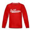Indiana Youth Long Sleeve Shirt - Hand Lettered Youth Long Sleeve Indiana Tee - red