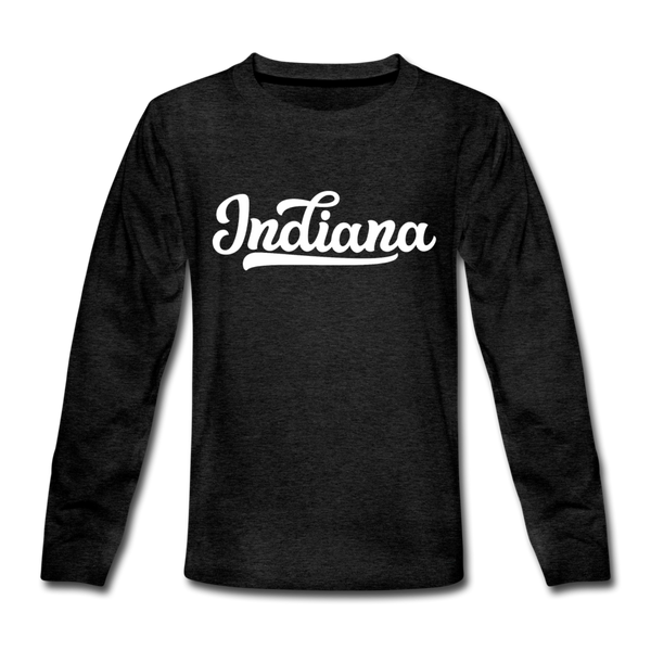 Indiana Youth Long Sleeve Shirt - Hand Lettered Youth Long Sleeve Indiana Tee - charcoal gray