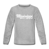Mississippi Youth Long Sleeve Shirt - Hand Lettered Youth Long Sleeve Mississippi Tee