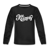 Illinois Youth Long Sleeve Shirt - Hand Lettered Youth Long Sleeve Illinois Tee - black