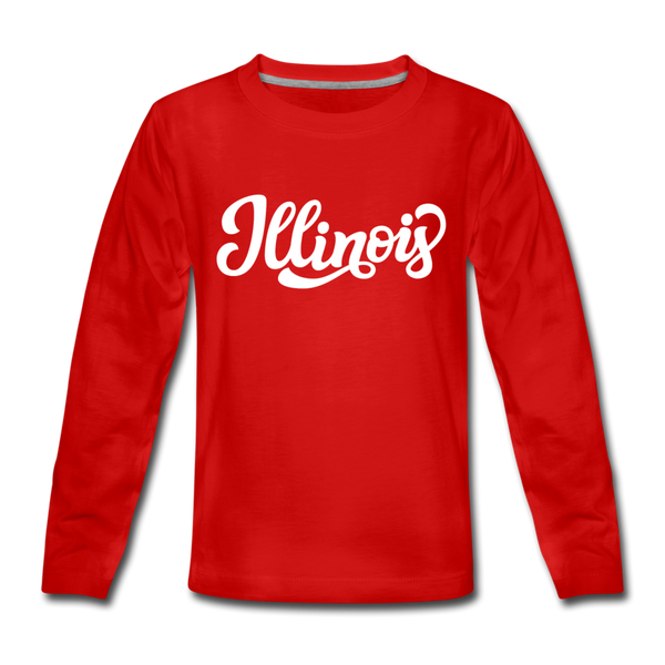 Illinois Youth Long Sleeve Shirt - Hand Lettered Youth Long Sleeve Illinois Tee - red