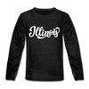 Illinois Youth Long Sleeve Shirt - Hand Lettered Youth Long Sleeve Illinois Tee - charcoal gray