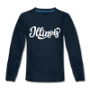 Illinois Youth Long Sleeve Shirt - Hand Lettered Youth Long Sleeve Illinois Tee - deep navy