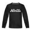 Nevada Youth Long Sleeve Shirt - Hand Lettered Youth Long Sleeve Nevada Tee - black