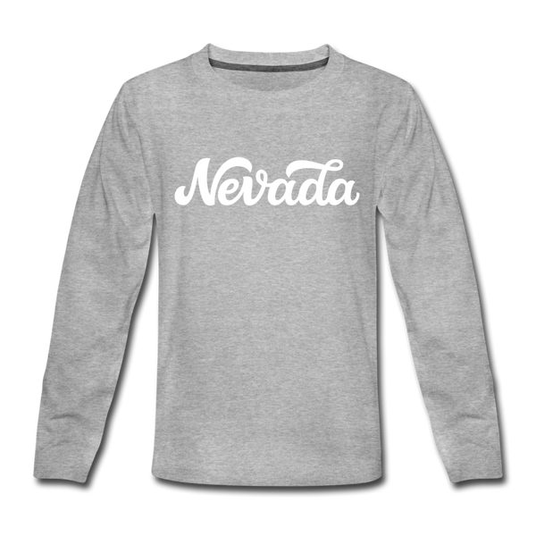 Nevada Youth Long Sleeve Shirt - Hand Lettered Youth Long Sleeve Nevada Tee - heather gray