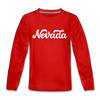 Nevada Youth Long Sleeve Shirt - Hand Lettered Youth Long Sleeve Nevada Tee - red